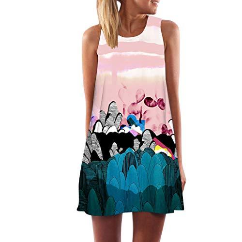 Damen Kleider Sommer Ärmellos V-Ausschnitt Gurt Weste Sexy Kleider Strandkleid Einfarbig Kleid Polyester lässig kurzes Minikleid (EU:36, Rosa) -