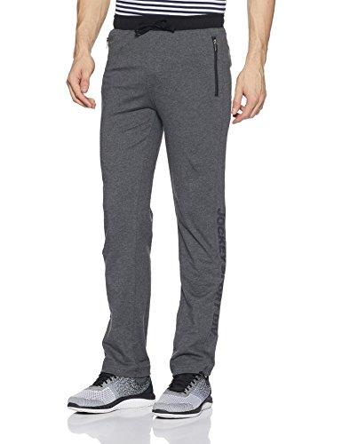 Jockey Men's Cotton Track Pant (9510_Charcoal Melange and Black_Medium