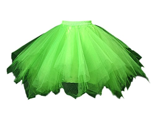 Honeystore Damen's Tutu Unterkleid Rock Abschlussball Abend Gelegenheit Zubehör Fluoreszenzlicht Grün (Cocktail Bunny Halloween Kostüme)