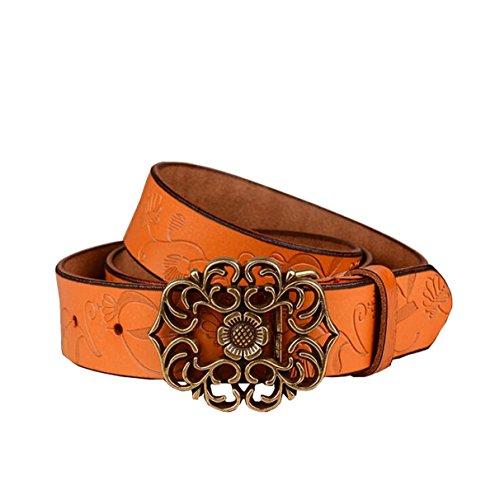 NormCorer Gürtel, florales Muster, ausgeschnittene Schnalle, Western-Stil, für Jeans und Kleid, inkl. Locher - Braun - 45.28