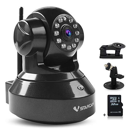 Vstarcam c7837wip telecamera ip wifi camera hd 720p baby monitor visore notturno con 32g memory card per smartphone,pc,website nero