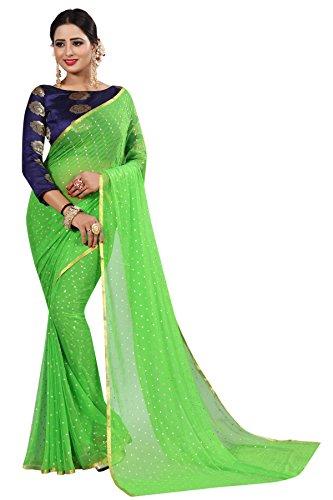 Perfectblue Women's cotton Silk Saree With Blouse Piece (GreenNA6AZMIN)