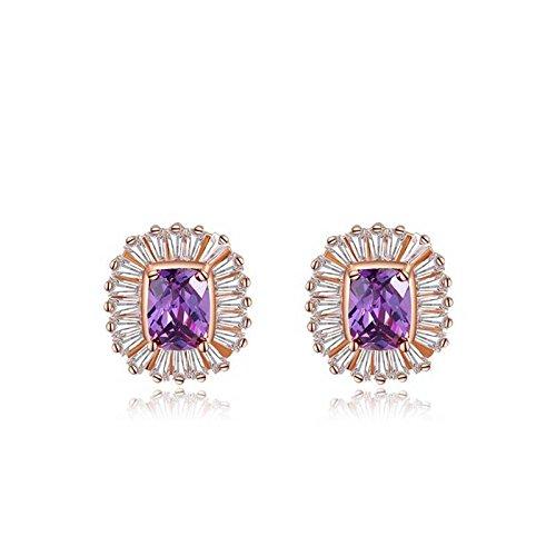 Ohrringe Gold-diamant Quadratischer (Hypoallergen Mode Rose Gold Lila Diamant Quadratische Ohrringe Schmuck , Roségold)