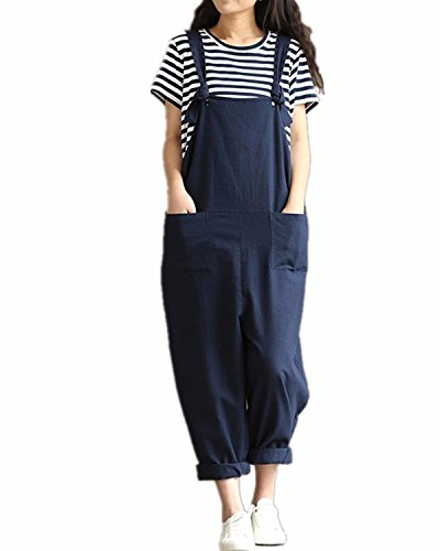 Styledome Women's Retro Loose Casual Baggy Sleeveless Overall Long Jumpsuit Playsuit Trousers Pants Dungarees Black UK 8