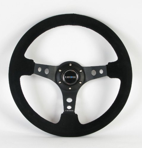 NRG Steering Wheel - 06 (Deep Dish) - 350mm (13.78 inches) - Black Suede with Black Spokes - Part # ST-006S by NRG Innovations Deep Dish Wheel