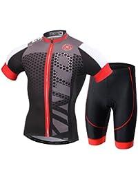 YOUJIA Maillot Conjunto Mangas Cortas de Ciclismo Pantalones Cortos de Bicicleta para Hombre