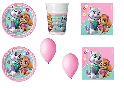 Pat' Patrouille Kit de décoration de fête, rose Kit N°13 CDC - (24 assiettes, 24 verres, 32 serviettes, 100 ballons)