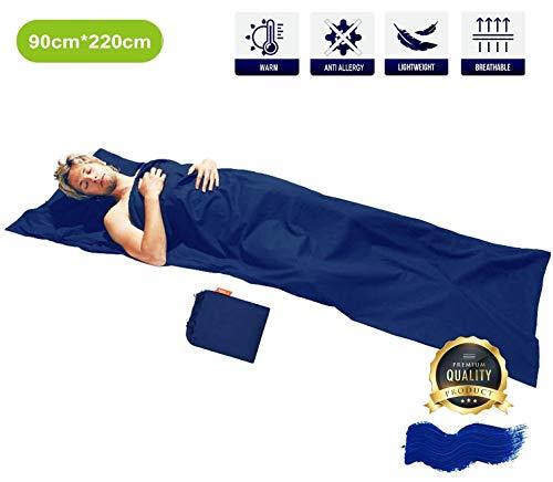 Hüttenschlafsack baumwolle leicht reißverschluss inlett schlafsack inlay reiseschlafsack dünn-2in1 microfaser schlafsack sommer erwachsene kleines packmaß Ideal für Reisen durch warme Länder 90x220