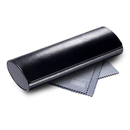 FEFI - Klassisches Hardcase Brillenetui im Leder-Look (Schwarz)