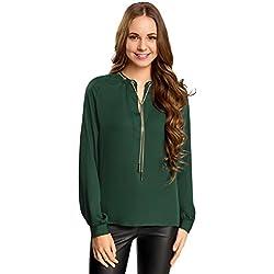 oodji Collection Mujer Blusa de Tejido Fluido con Decoración Metálica, Verde, ES 36 / XS