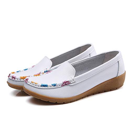 Uhrtimee Lederschuhe Druck Lederschuhe Peas Schuhe Flach mit Mutter Schuhe Schwangere Damenschuhe, Weiß, 41