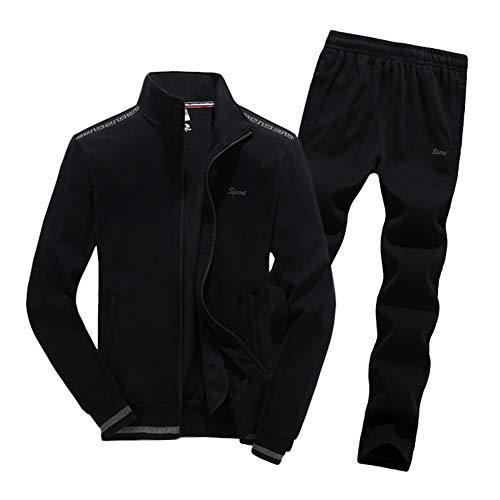ZWYY Herren Trainingsanzug, 2-teiliges Set, Activewear, Durchgehender Reißverschluss, Jogginganzug, Stehkragen, große Größe, Lange Ärmel, Sportswear Laufen, Fitness-Trainingsanzüge, Schwarz, 7XL -