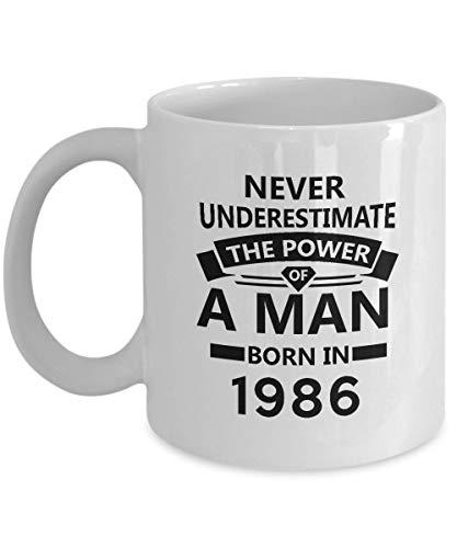 31st Birthday Mug - The Power of a Man Born in 1986 Coffee Mug - Nice Sturdy Gifts for Men, Women, Dad, Brother, Friends - On Birthday, Christmas, Valentine - 11Oz Ceramic tea cup White (König Karte Valentines)
