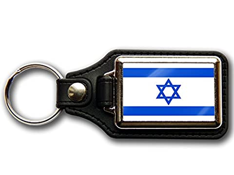 ISRAEL Flag National Colours Premium Leather & Chrome Keyring