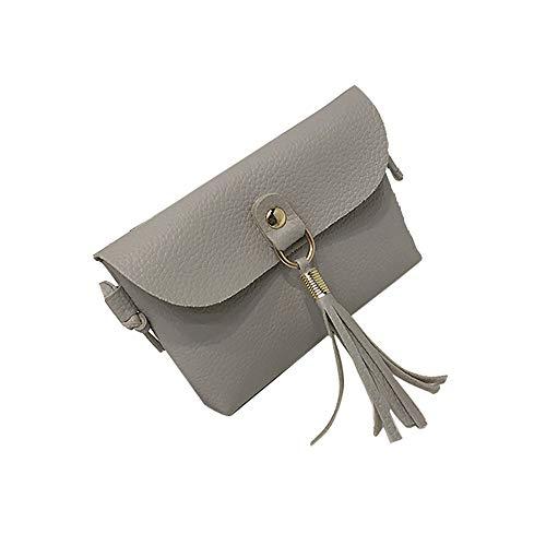 Andouy Modische Tasche Vintage Handtasche Kleine Mini Messenger Quaste Umhängetaschen(Grau)