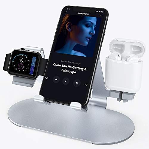 JOYEKY Ladestation für Apple Watch, 3 in 1Premium-Aluminium Ladestaion, hochwertiger Silikon-Mehrschichtschutz für alle alle Smartphones, iWatch Series 4/3/2/1, iPad und AirPods (Silber) Apple Ipad 2 Silikon