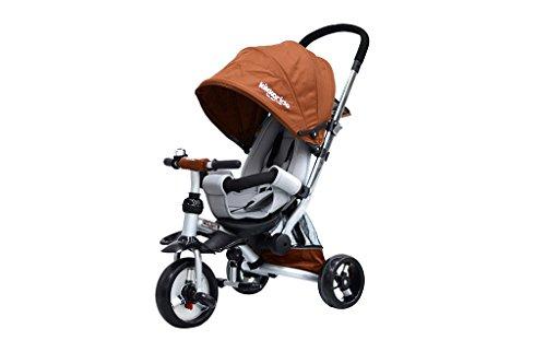 Mitwachsender Dreirad-Kinderwagen braun