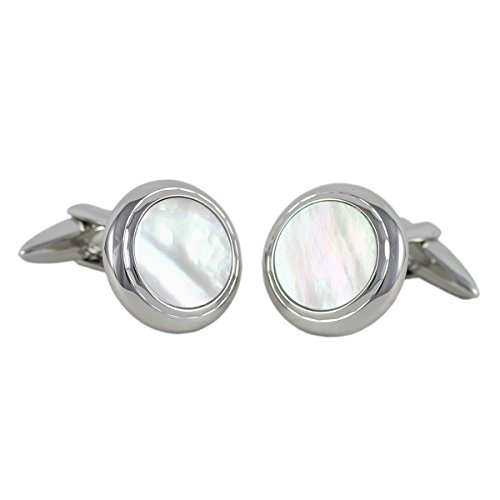 Lindenmann classic G.CHABROLLE Cufflinks/Cuff buttons, silvery with nacre, gift box, 376