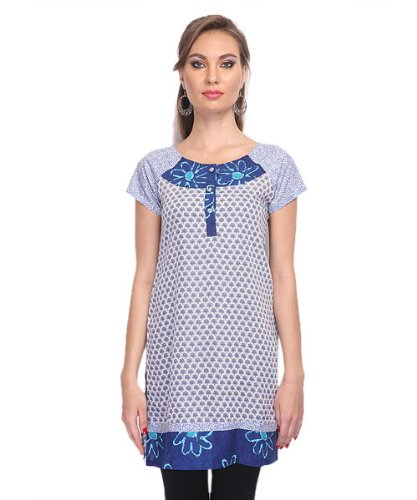Yepme Women's Cotton Nisa Printed Blue & White Kurti - L  available at amazon for Rs.179
