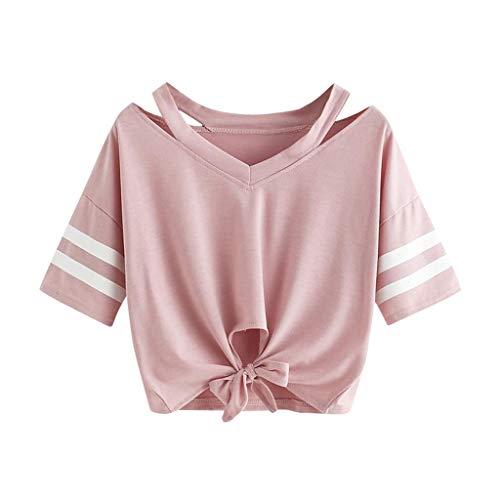Weant Damen Sommer T-Shirts Riemen Rundhals Tie up Kurzarm Crop Top Saum Streifen Shirt Junges Mädchen Oberteil Bluse -