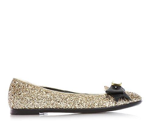 MISS GRANT - Ballerina dorata in glitterata, dallo stile elegante e glamour, con fiocco nero decorato con pietra sulla parte anteriore, Bambina, Ragazza, Donna-35