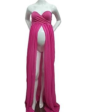Hopeverl Maternidad Split Front Sheer vestido de maternidad de gasa maxi vestido de dama de honor para fotos Shoot