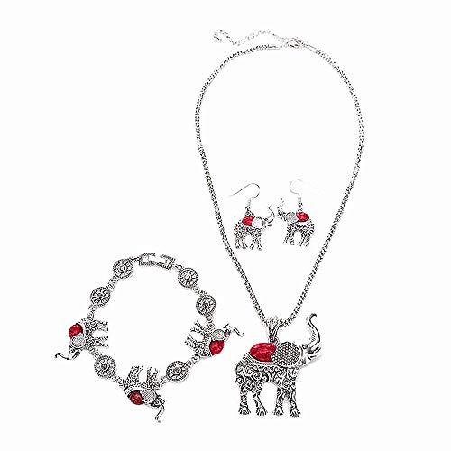 Vipithy 3 Piezas Retro Turquesa Elefante Joyas Aleación Collar Pulsera Aretes Conjunto,Rojo
