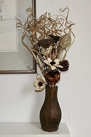 75cm de haut Unique NEUF séchées et fleurs artificielles Crème faite à la main en un bouquet avec gratuit en bois de 23cm Vase fabriquée au Royaume-Uni