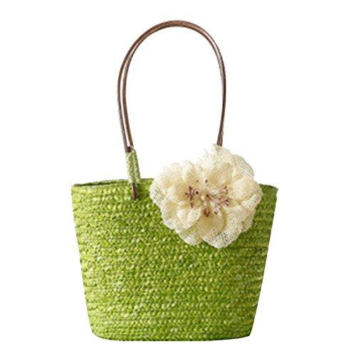 YOUJIA Donne Borsa Di Paglia Spiaggia Handbags Di Circolare Manico In Legno Tote Borse #2 frutta verde