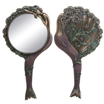 stealstreet Jugendstil Sammlerstück Meerjungfrau Hand Spiegel Nymphe Dekoration