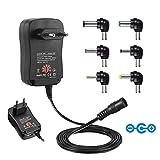 Universal Conector de fuente, Sopito 30W 3V-12V AC/DC adaptador Fuente de alimentación conmutada Six Adaptor Plugs con Puerto USB 5V 2,1A