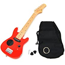 TS-Ideen - Guitarra eléctrica ¼ infantil con set de funda acolchada, correa,