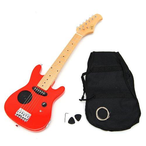 TS-Ideen - Guitarra eléctrica Œ infantil con set de funda acolchada, correa, cuerdas y plectro, color rojo.