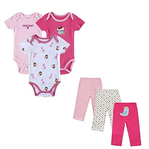 6pezzi/set baby girl rompers pantaloni estate style neonato abbigliamento ragazzo cotone set conjuntos rosso style 1 0-3 mesi