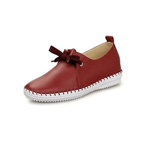 Adee Mesdames Rétro dentelle jusqu'Pompes en cuir Chaussures Rouge - rouge