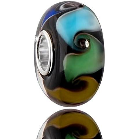 MATERIA gioielli con perline in vetro di Murano Nero con motivi colorati - vetro Murano charm in argento Sterling 925 con tubo #1621