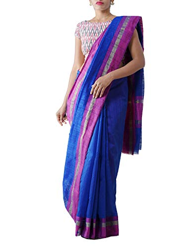 Unnati Silks Women Art Andhra Jute Saree With Blouse piece from the Weavers of Andhra Pradesh (UNM28154+Blue+Free Size)