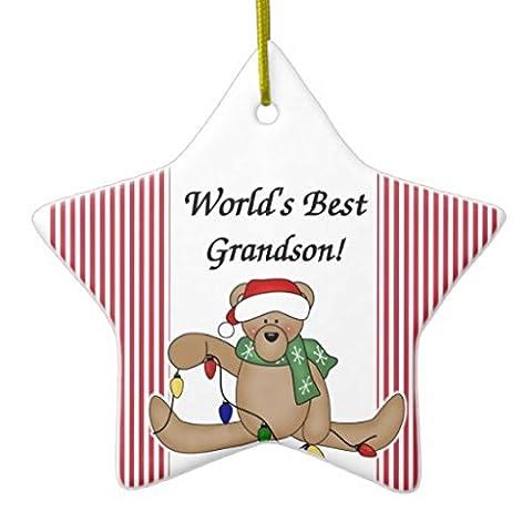 Arbre de Noël Décorations Teddy Bear Worlds Best Grandson vacances Décoration Les deux côtés Star en céramique Décoration Artisanat de cadeaux de