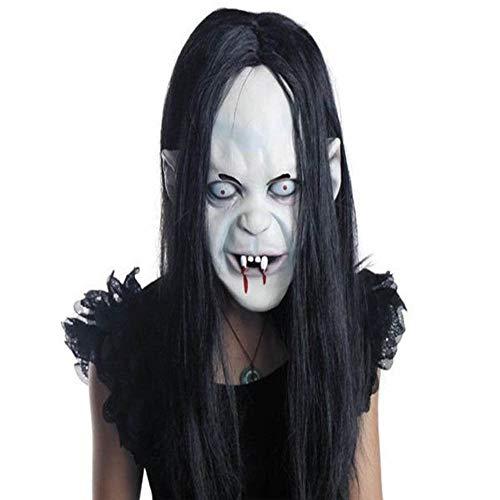 ie Schrec Klicher Dämon Cosplay Horror Blutig Skelett Latex Maske Und Haare ()