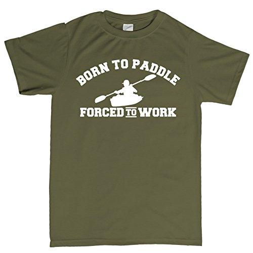 Born to Paddle Canoe Kayak Boat T Shirt L Military Green