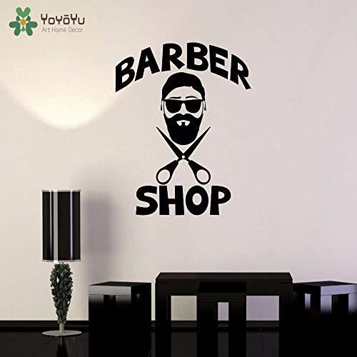 zqyjhkou Wandtattoo Barbershop Mode Entfernbare Wandaufkleber Herren Friseur Spezielles Design Fenster Hochwertiges Vinyl Diysy651 42x49cm -