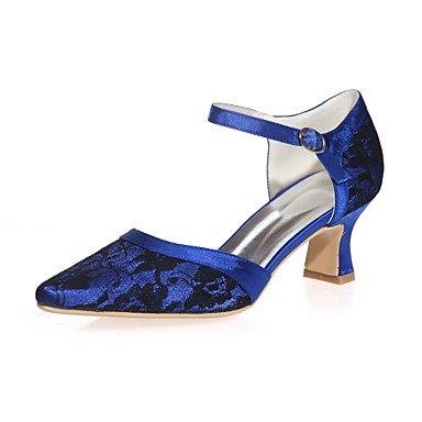 Wuyulunbi@ Scarpe donna Lace Primavera Estate della pompa base di nozze blocco scarpe tacco punta quadrata per la festa di nozze & Sera Bianco Rosa Blu Blue