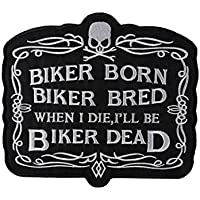 CometCloud Unisex Iron on Embroidered Biker Patch X-Large for Clothing (Various Designs) (Biker Born Bread & Dead)