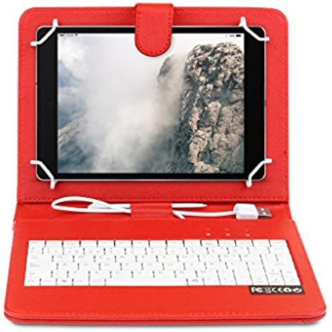 OME® Funda con teclado Tablet 7 pulgadas con conexión MicroUsb-OTG (Rojo)