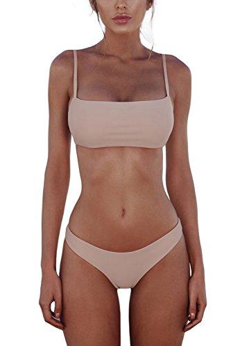 Cassiecy Damen Bikini Set Push Up Bustier Zweiteilig Sommer Sportliches Bademode Strand Bikini(Rosa,L)