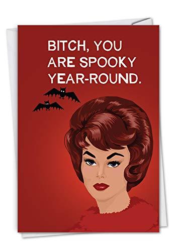 Kostüm Halloween Lehrer - NobleWorks C3082HWG Glückwunschkarte für Frauen - gruseliges Jahr - Lustige Halloween-Karte für Frauen - Erwachsene, Grußkarte mit Umschlag