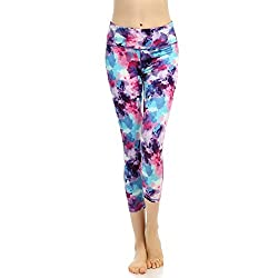 Phennie's Women's Workout Capris Pants Printed Active Yoga Running Leggings Stretch Tights by Phennie's