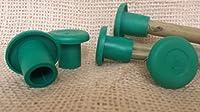 (20x) Yuzet Green Round Rubber Garden Bamboo Cane Eye Protection Topper Caps