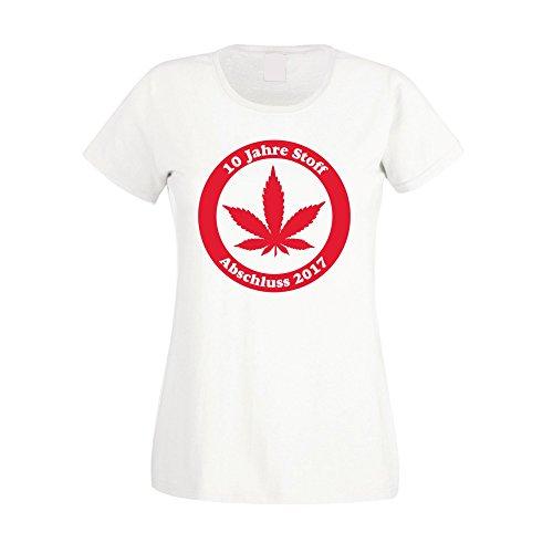 Damen T-Shirt - 10 Jahre Stoff - Abschluss 2017 - von SHIRT DEPARTMENT Weiss-Rot