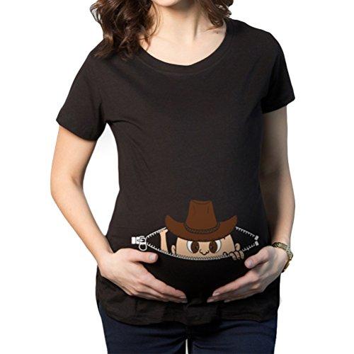 Laixing Bonne Qualité Maternity Peeking Cowboy Western Baby Funny Pregnancy Gift T Shirt #K236 Black
